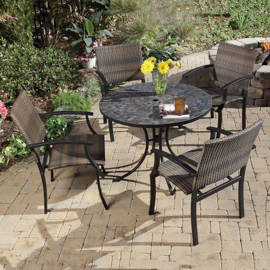 Shop home styles stone harbor 5 piece metal frame wicker for Patio furniture table