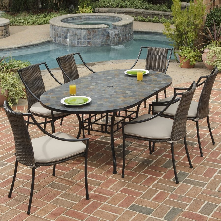 Home Styles Stone Harbor 7-Piece Slate Patio Dining Set