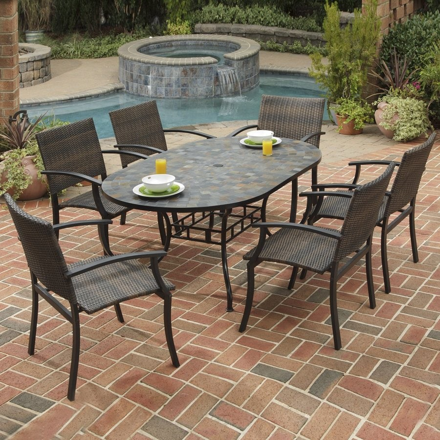 Shop home styles stone harbor 7 piece metal frame wicker for Patio dining sets with bench seating