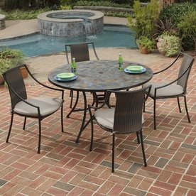 Home Styles Stone Harbor 5 Piece Metal Frame Wicker Patio Dining Set With  Taupe Cushions