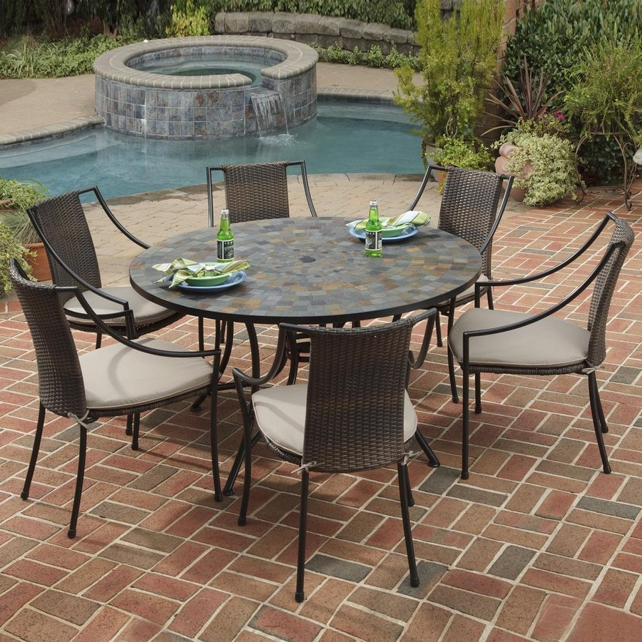 shop home styles stone harbor 7 piece metal frame wicker patio dining set with taupe cushions at. Black Bedroom Furniture Sets. Home Design Ideas