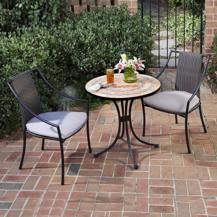 shop home styles terra cotta 3 piece metal frame wicker bistro patio dining set with taupe. Black Bedroom Furniture Sets. Home Design Ideas
