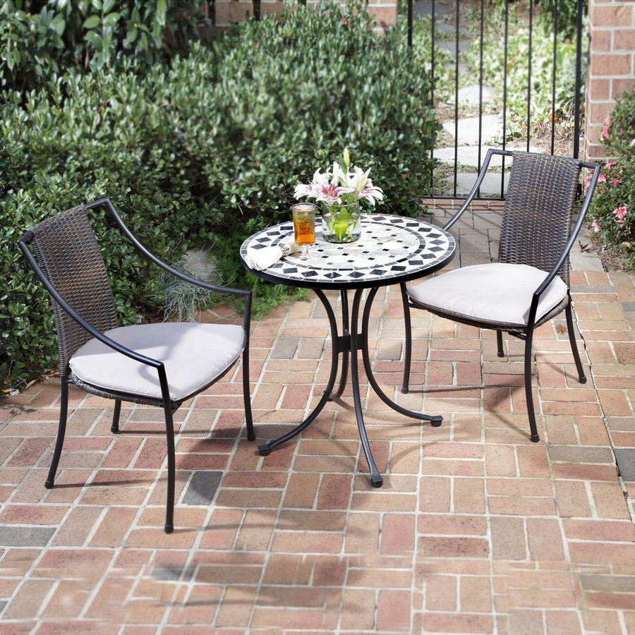 shop home styles marble 3 piece metal frame wicker bistro patio dining set with taupe cushions. Black Bedroom Furniture Sets. Home Design Ideas