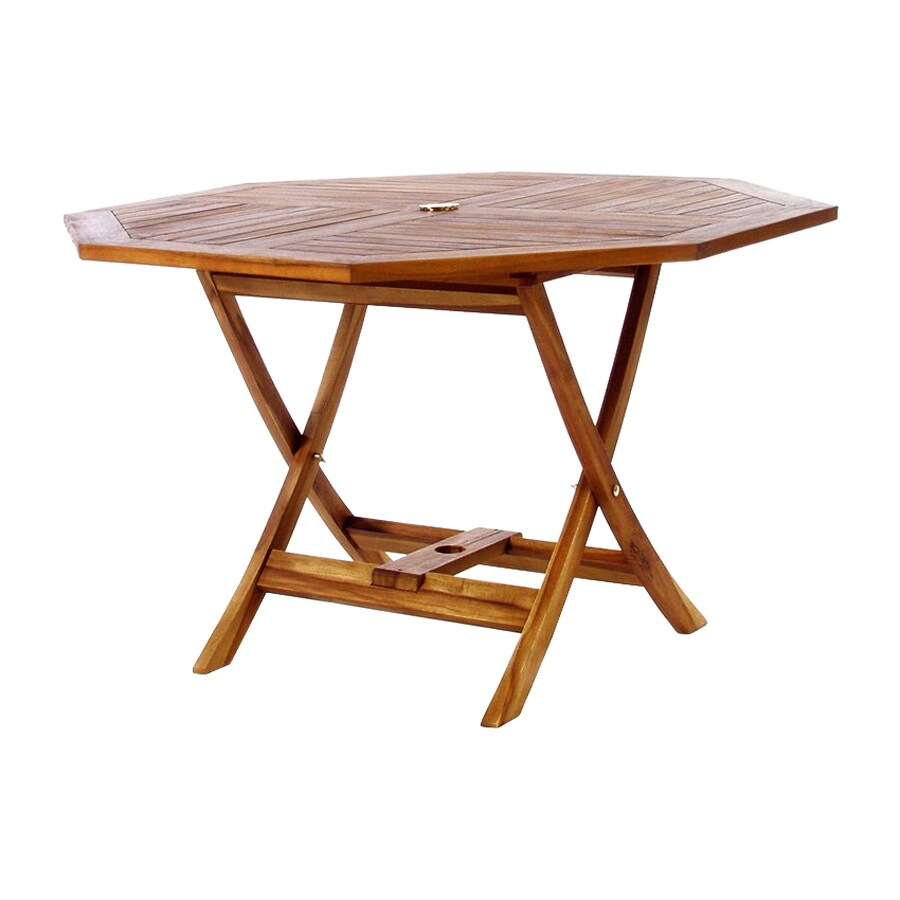 All Things Cedar 48-in W x 48-in L Octagon Teak Folding Dining Table