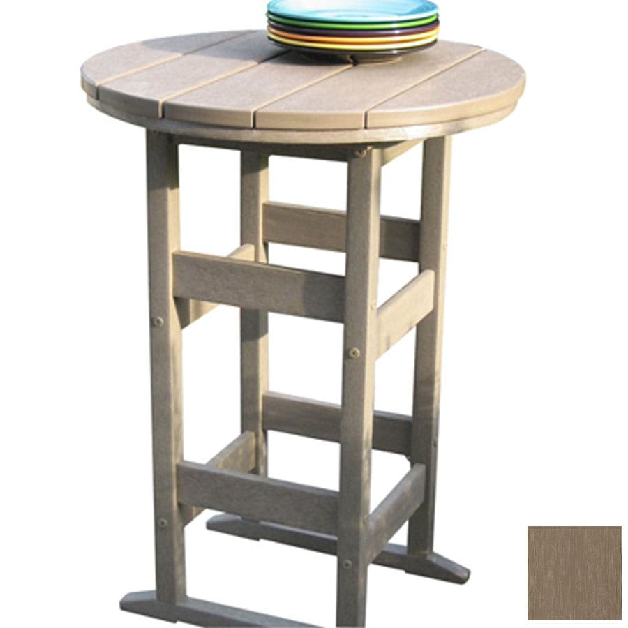 Siesta Furniture Bistro 26 In Weathered Wood Plastic Round Patio Bistro  Table