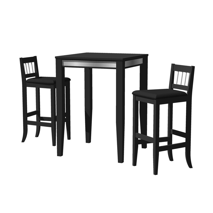 Home Styles Manhattan Black 3-Piece Dining Set with Bar Table