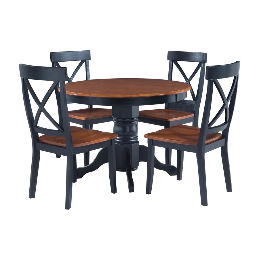 Shop home styles black cottage oak 5 piece dining set with for Black round dining table