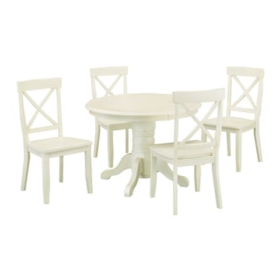Antique White 5 Piece Dining Set With Round Table