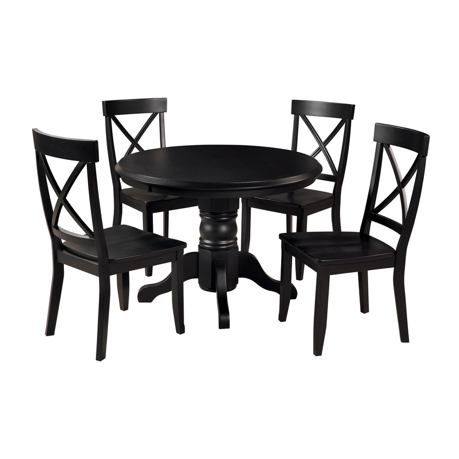 Shop home styles black 5 piece dining set with round for Black and white dining set