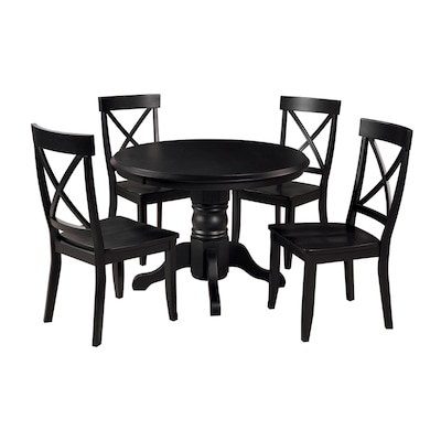 Black 5-Piece Dining Set with Round Dining Table