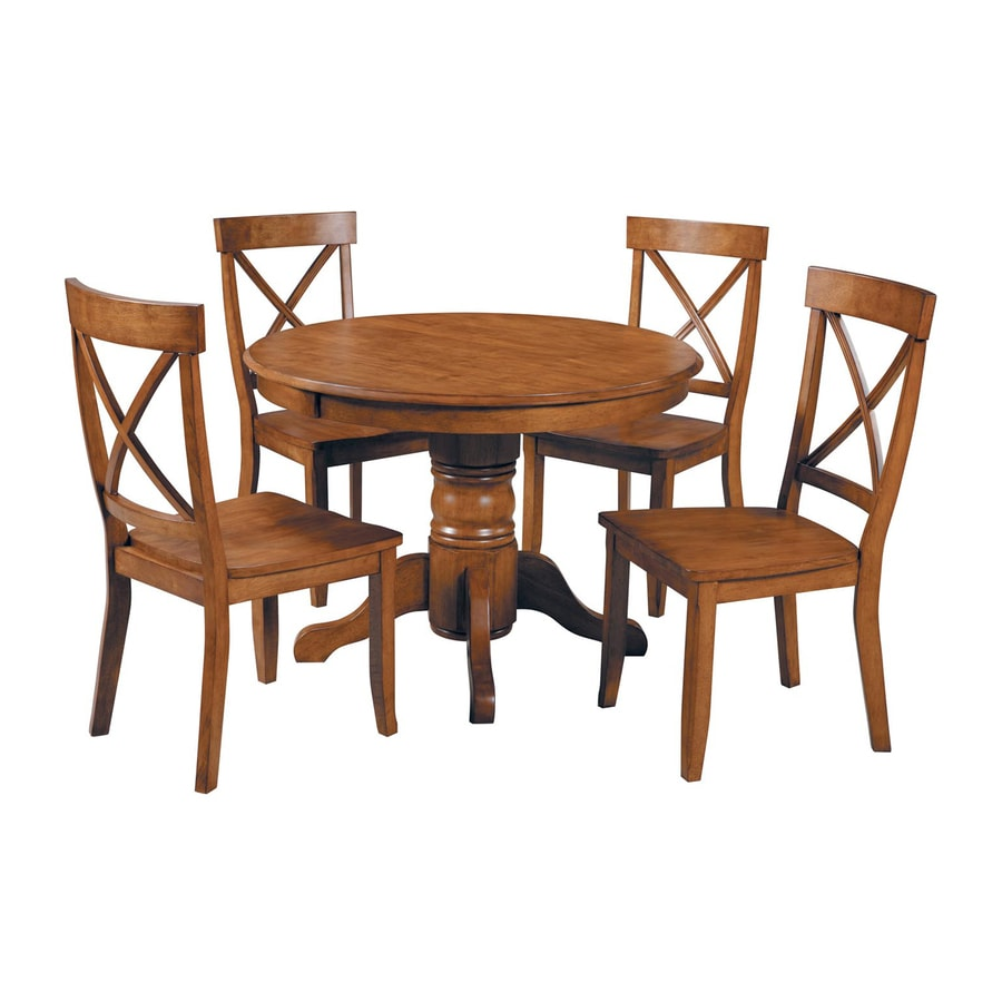Shop home styles cottage oak dining set with round dining for Round dining table set