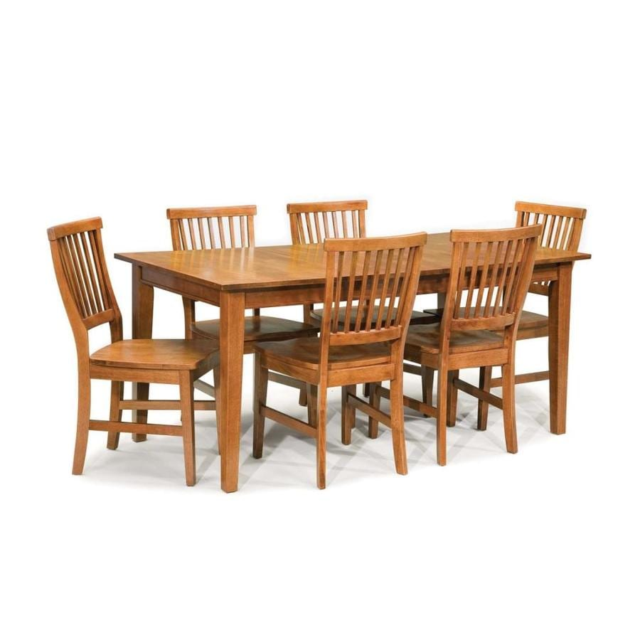 Shop home styles arts crafts cottage oak 7 piece dining for Arts and crafts style table