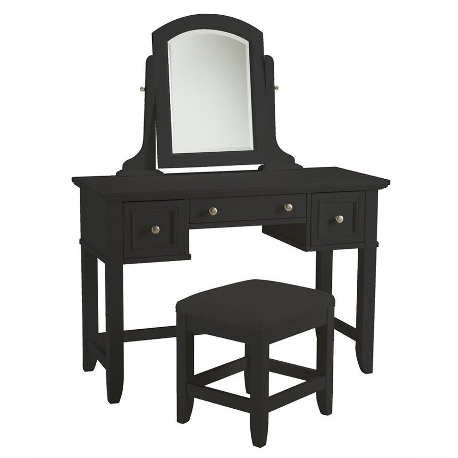 Shop home styles bedford black makeup vanity at for Black makeup table with mirror