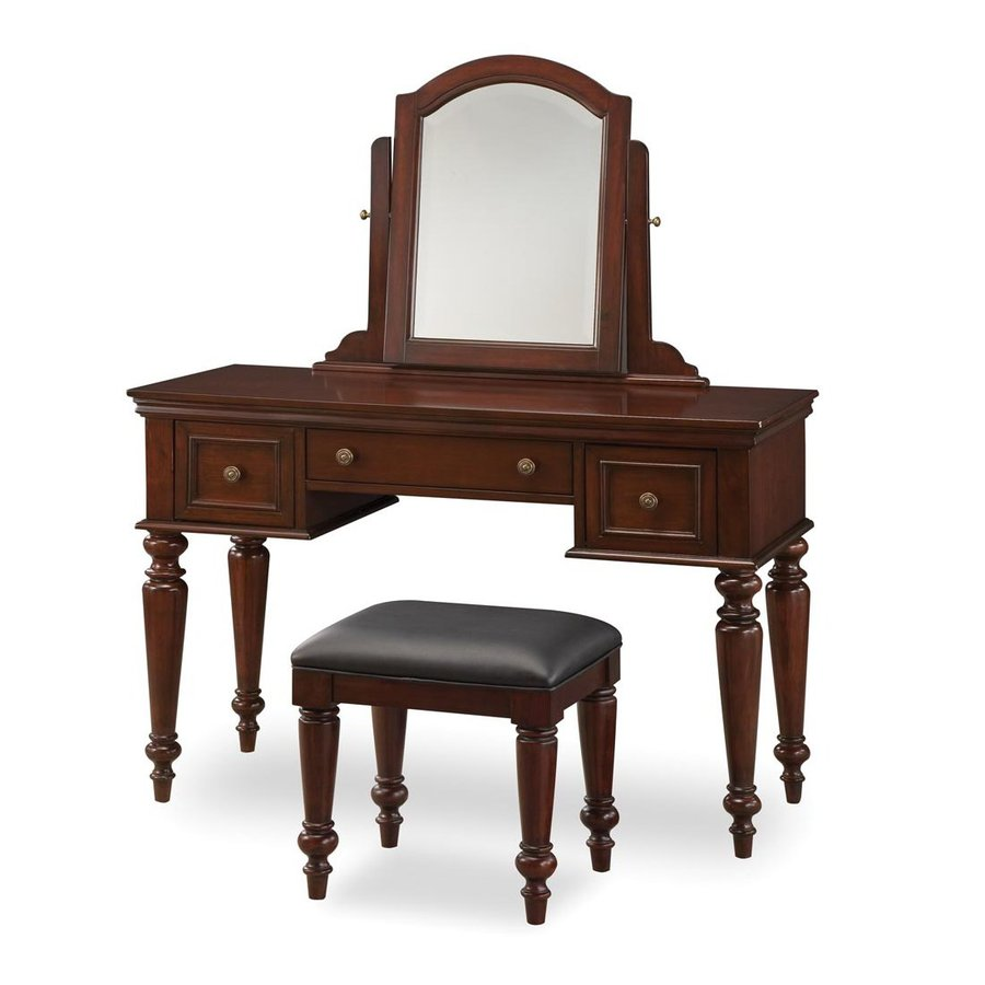 Shop home styles lafayette cherry makeup vanity at for Vanity mirror and desk