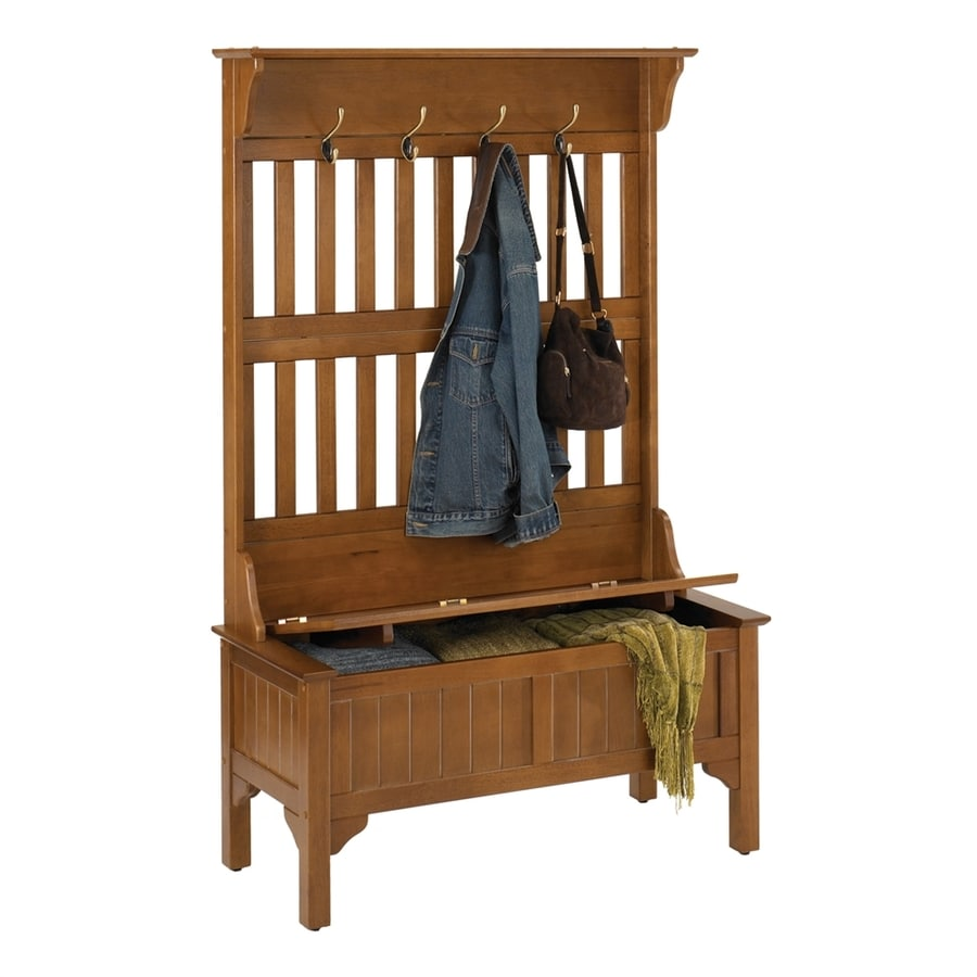 Shop Home Styles Transitional Oak Hall Tree Bench At