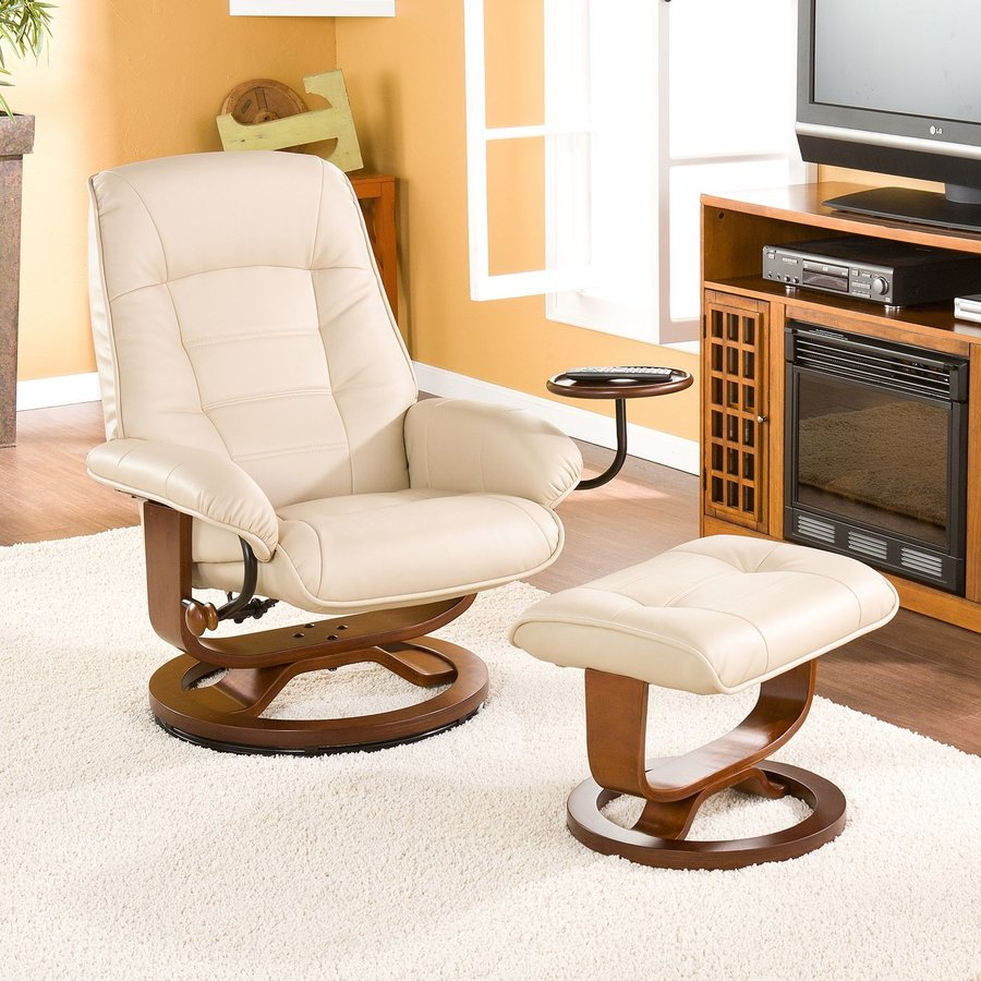 Boston Loft Furnishings Sidley Taupe Bonded Leather Swiveling Recliner