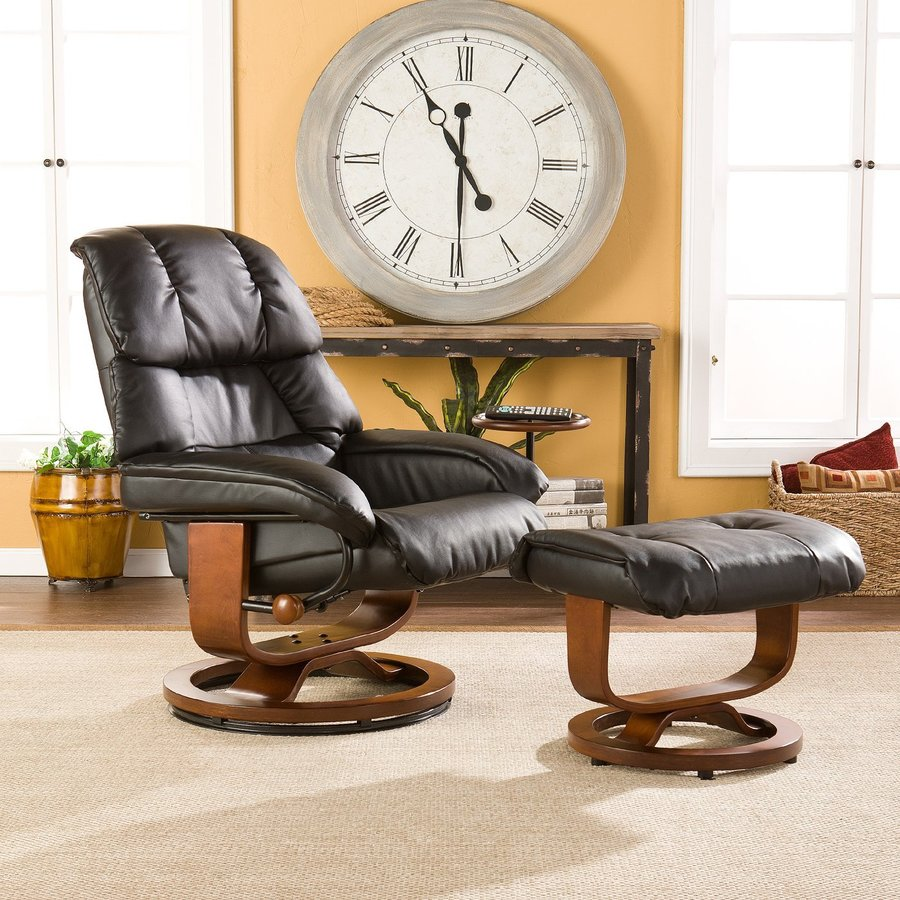 Boston Loft Furnishings Valtos Black Bonded Leather Swiveling Recliner