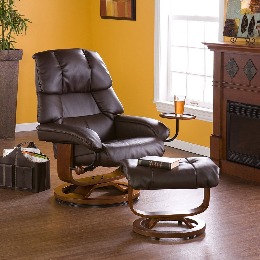 Boston Loft Furnishings Valtos Cafe Brown Bonded Leather Swiveling Recliner