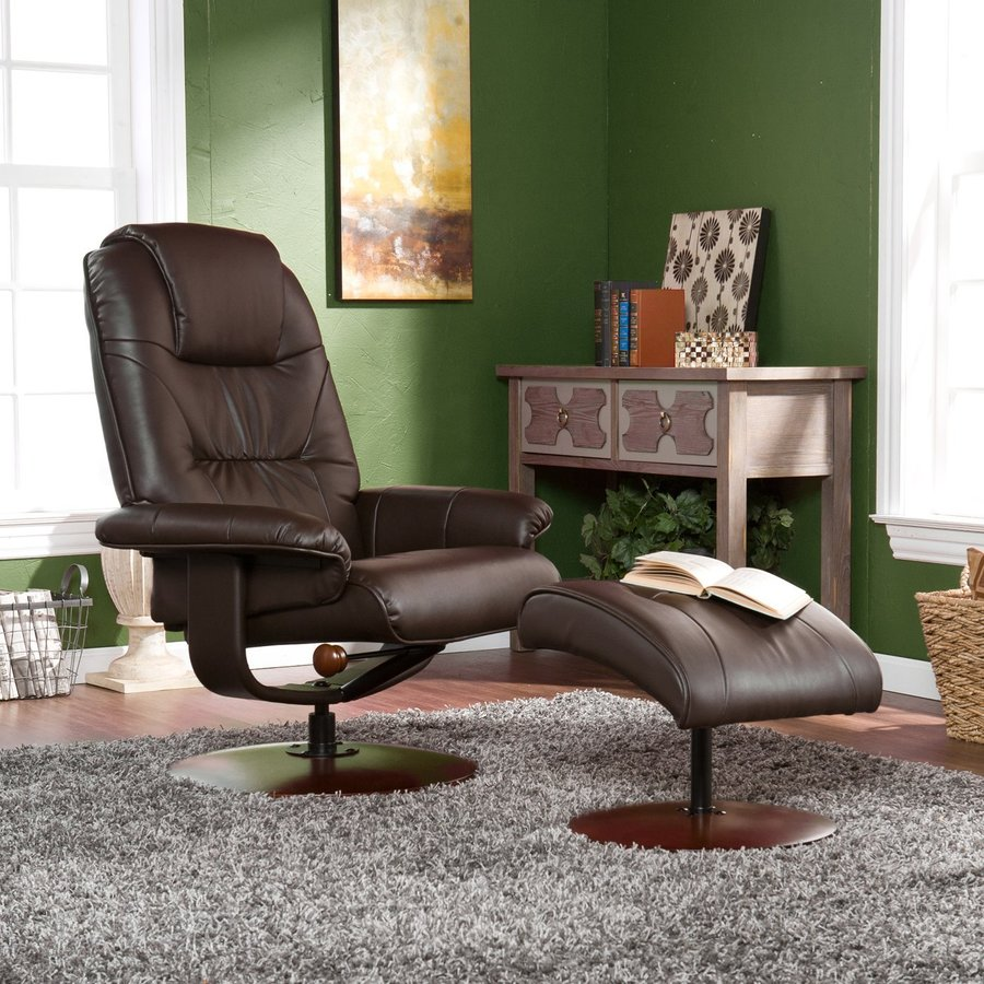 Boston Loft Furnishings Jameson Cafe Brown Bonded Leather Swiveling Recliner