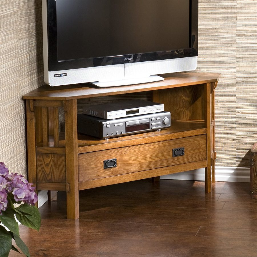 Boston Loft Furnishings Zachary Dark Oak Corner TV Stand