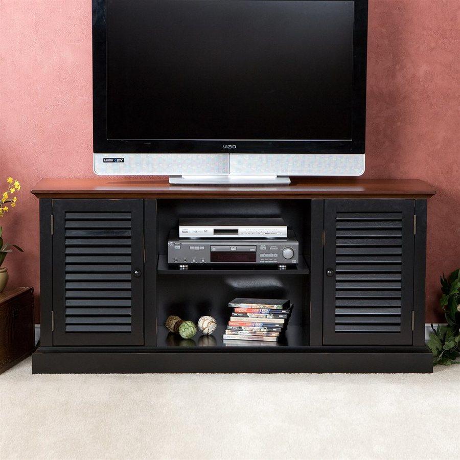 Boston Loft Furnishings Antebellum Walnut and Black Rectangular TV Cabinet