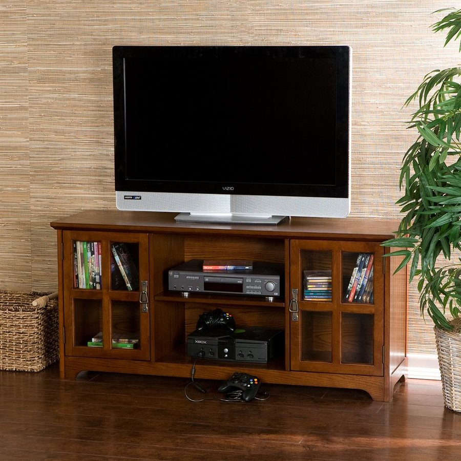 Floor tv stands for 55 inch flat screens - Boston Loft Furnishings Remington Mission Oak Rectangular Tv Cabinet