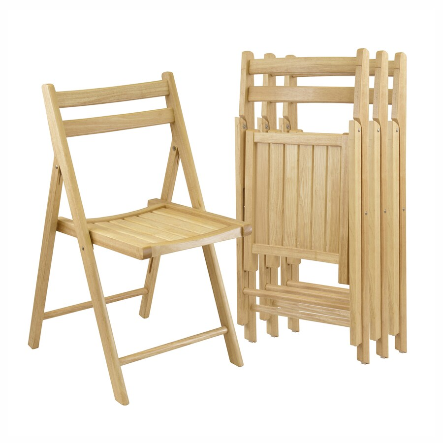 Shop Winsome Wood 4-Pack Indoor Wood Beech Standard Folding Chair ...