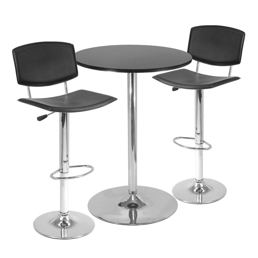 Winsome Wood Spectrum Black/Metal Dining Set with Round Bar Table