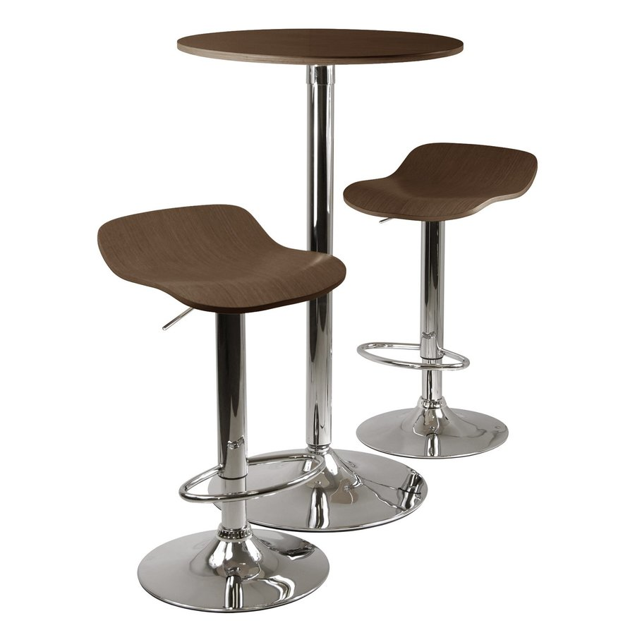 Winsome Wood Kallie Cappuccino/Metal Dining Set with Round Counter Table
