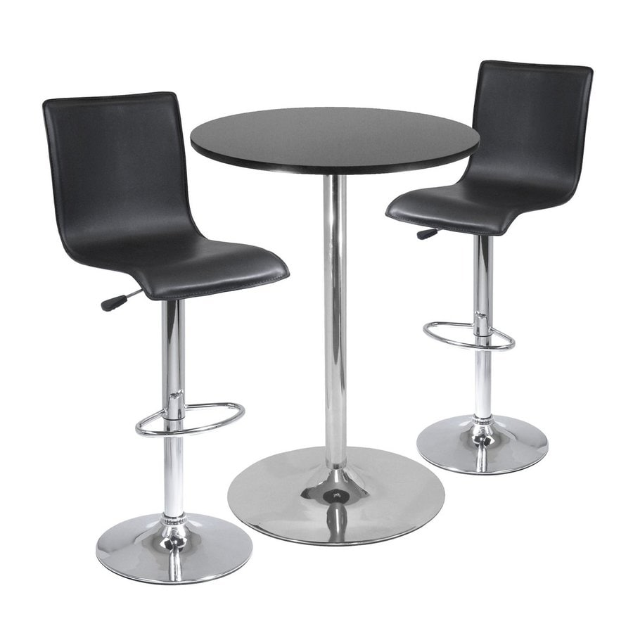 Round Table With Stools: Shop Winsome Wood Spectrum Black/Metal Dining Set With
