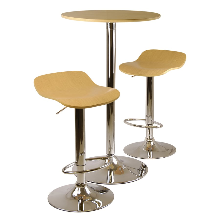 Winsome Wood Kallie Natural/Metal Dining Set with Round Counter Table