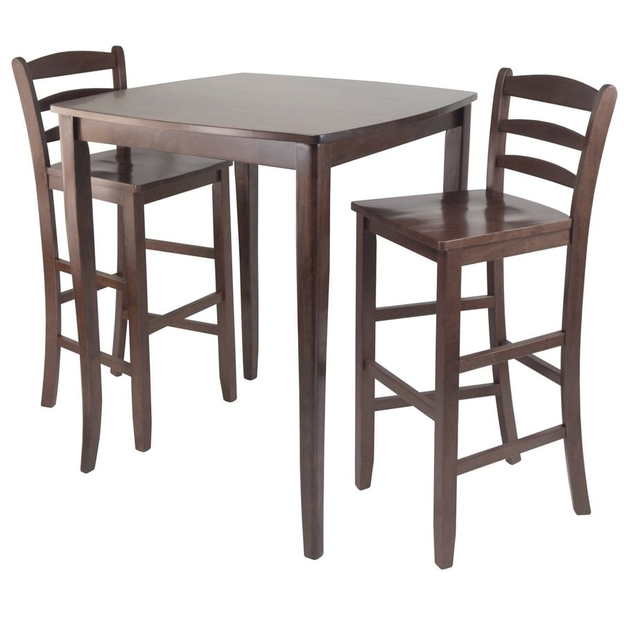 Winsome Wood Inglewood Antique Walnut Dining Set with Square Counter Table