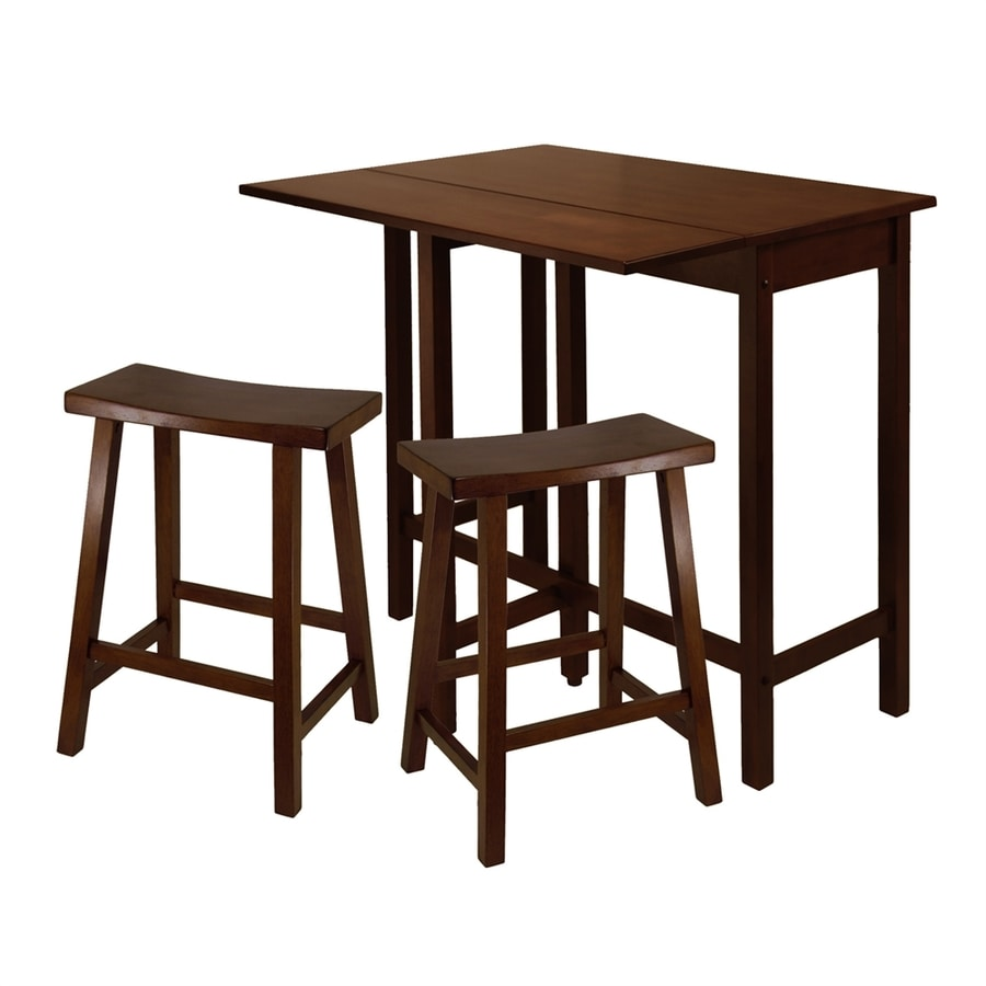 Winsome Wood Lynnwood Antique Walnut Dining Set with Rectangular Counter Table