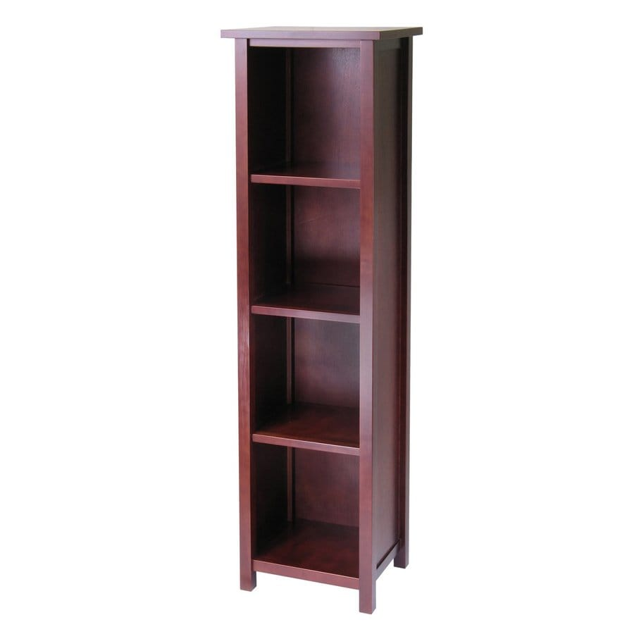 Winsome Wood Milan Antique Walnut 16.5-in W x 56-in H x 13-in D 4-Shelf Bookcase