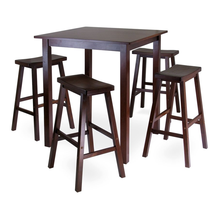 Shop winsome wood parkland antique walnut dining set with for Square dinette sets