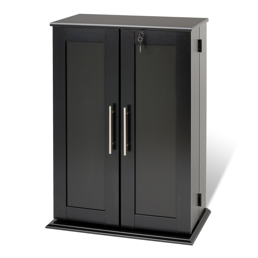 Prepac Black Transitional Engineered Wood Media Cabinet At