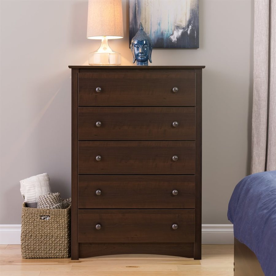 Prepac Furniture Fremont Espresso 5-Drawer Chest