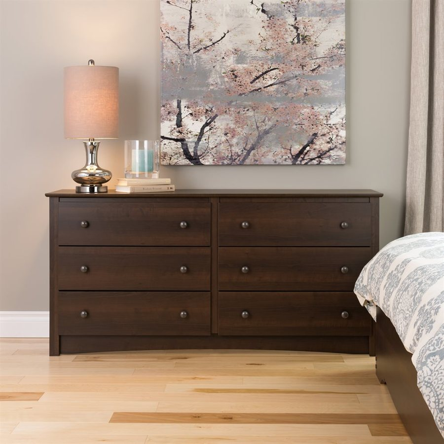 Prepac Furniture Fremont Espresso 6 Drawer Dresser