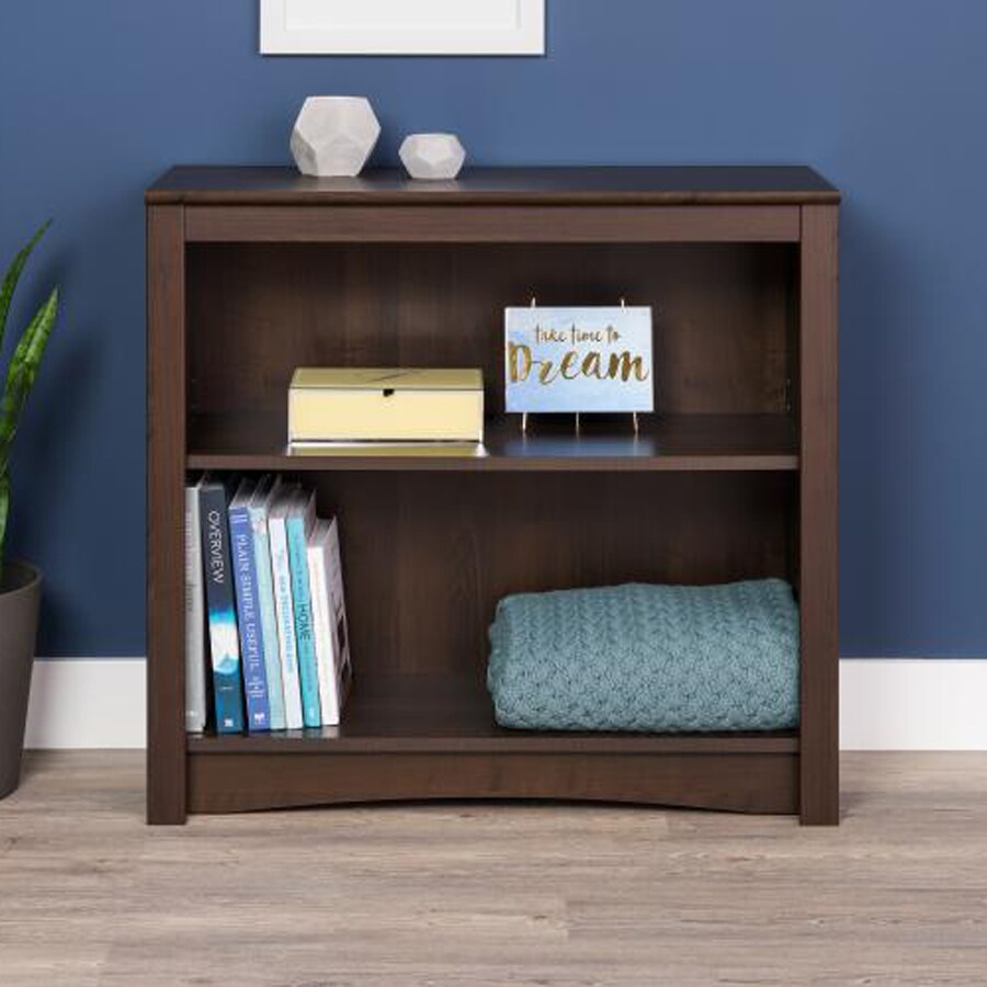Prepac Furniture Espresso 31.5-in W x 29-in H x 13-in D 2-Shelf Bookcase