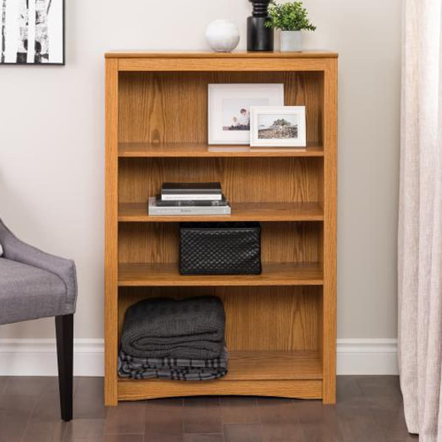 Prepac Furniture Oak 4-Shelf Bookcase