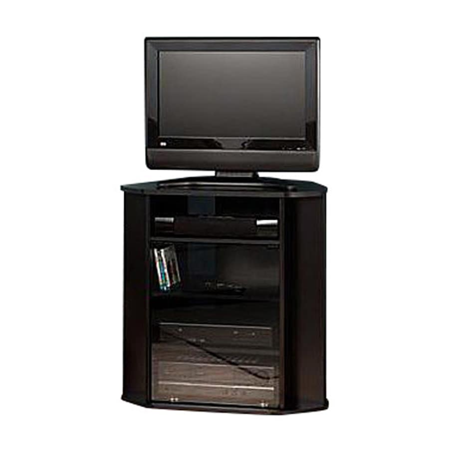 Bush Furniture Visions Black/Metallic Silver TV Stand