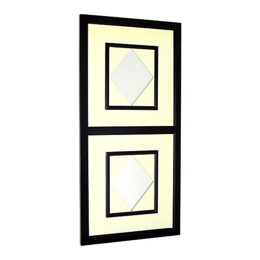 Wayborn Furniture Diamond 20-in x 42-in Off White/Black Rectangle Framed Wall Mirror