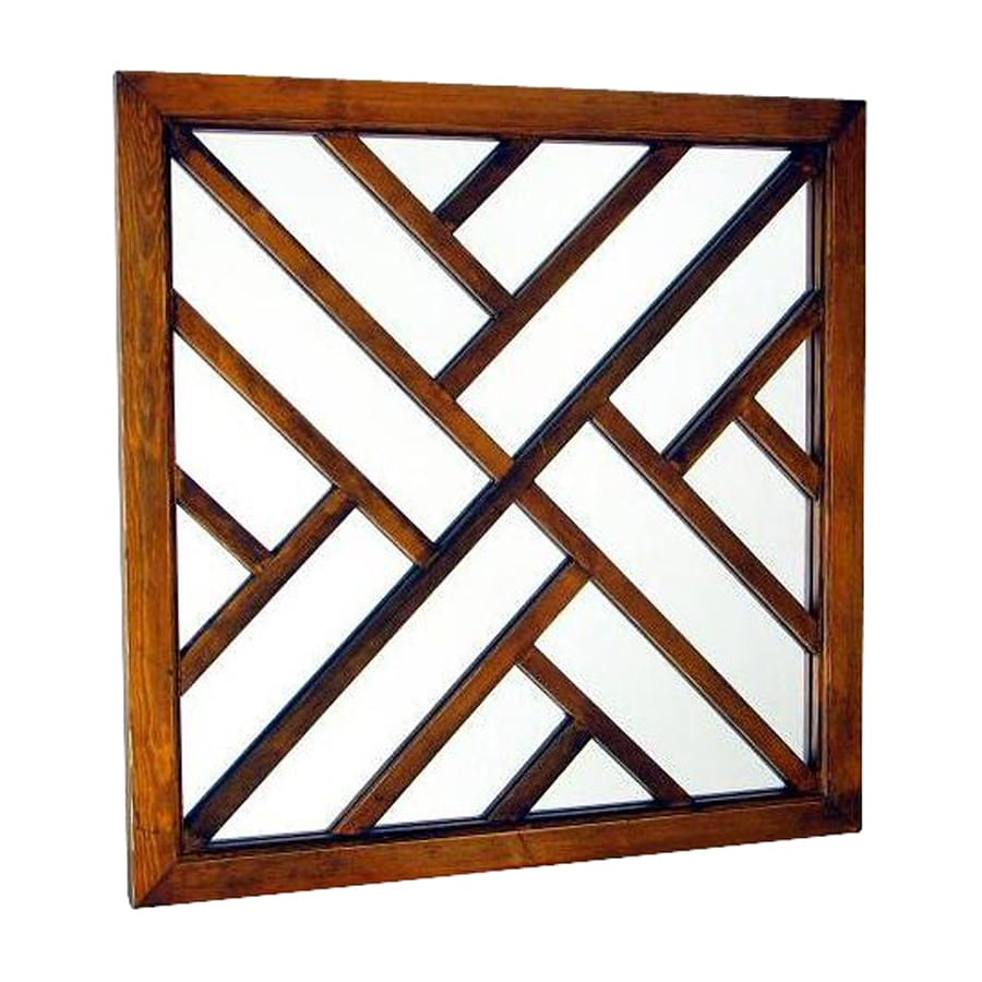 Shop wayborn furniture happy brown square wall mirror at for Square mirror