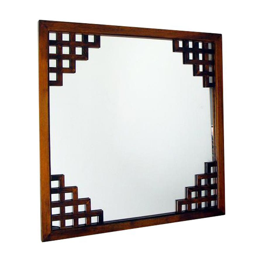 Shop wayborn furniture paragon brown square wall mirror at for Square mirror