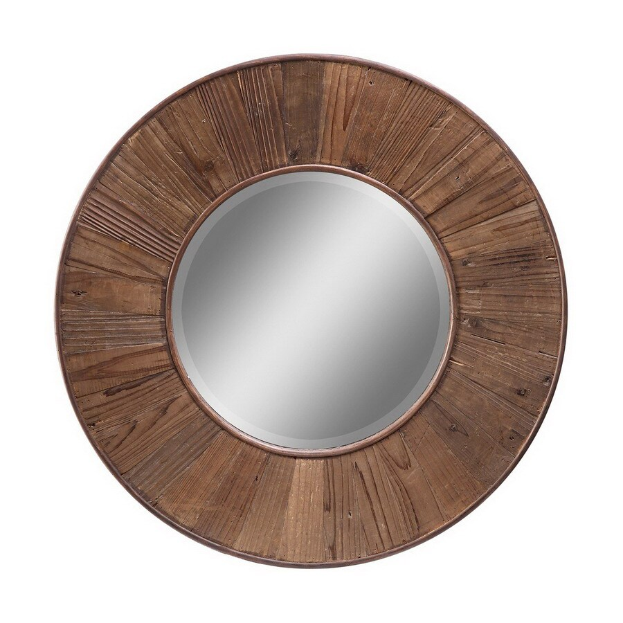 Cooper Clics 32 In X Natural Rustic Wood Round Framed Wall Mirror