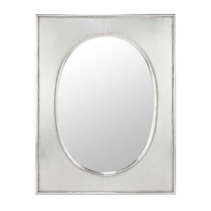 Cooper Classics Venice 24-in x 31-in Silver Metal Polished Rectangle Framed Contemporary Wall Mirror