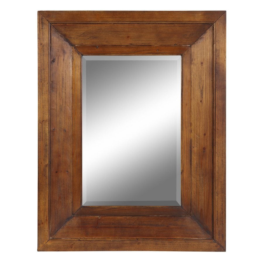 Cooper Classics Canon 27.5-in x 35.5-in Natural Rustic Wood Beveled Rectangle Framed Transitional Wall Mirror