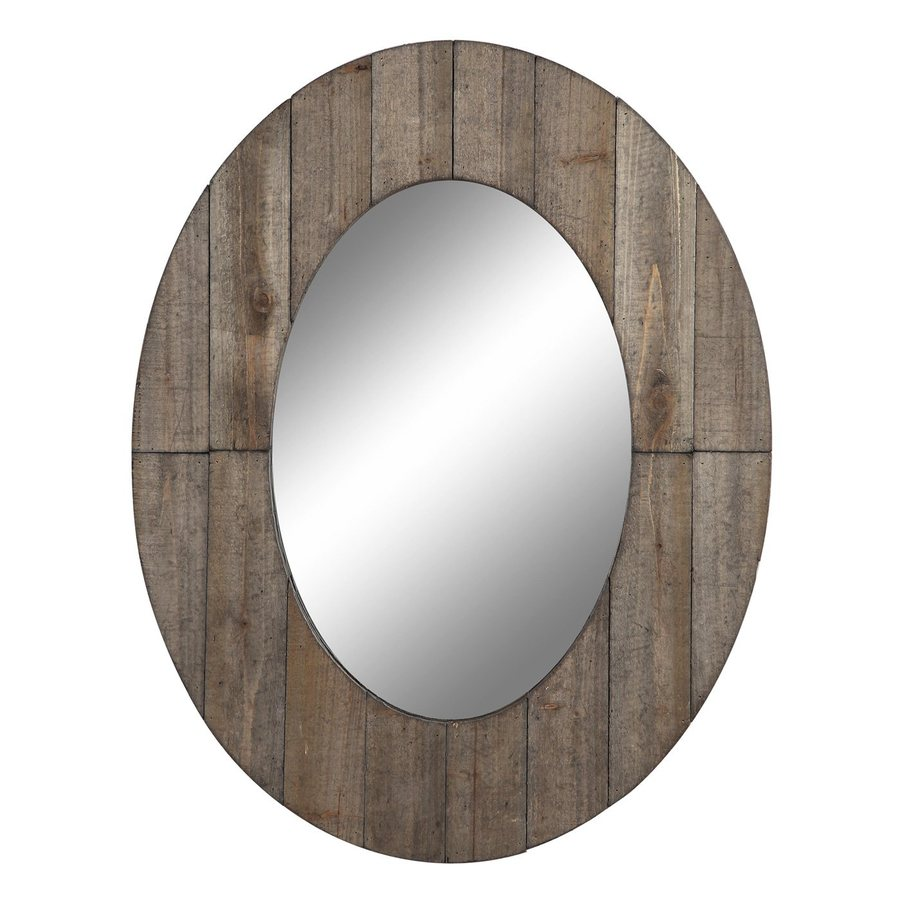 Cooper Classics Mammoth 27.5-in x 35.5-in Rustic Grey Beveled Oval Framed Transitional Wall Mirror