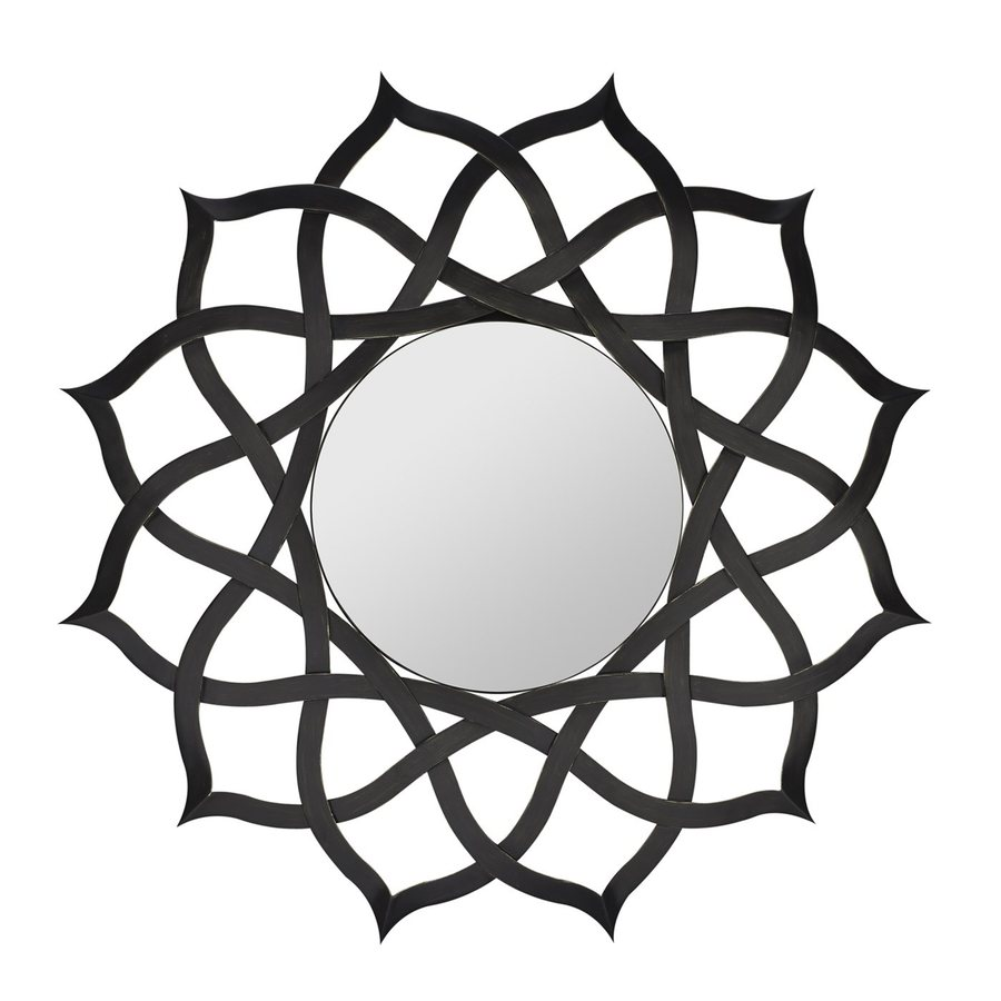Cooper Classics Comran 44-in x 44-in Aged Black Polished Round Framed Contemporary Wall Mirror