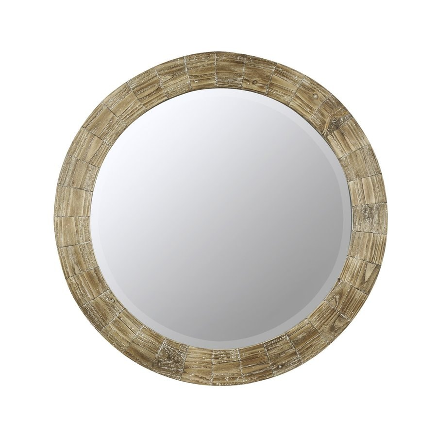Cooper Classics Kettler 31.25-in x 31.25-in Natural Wood Beveled Round Framed Contemporary Wall Mirror